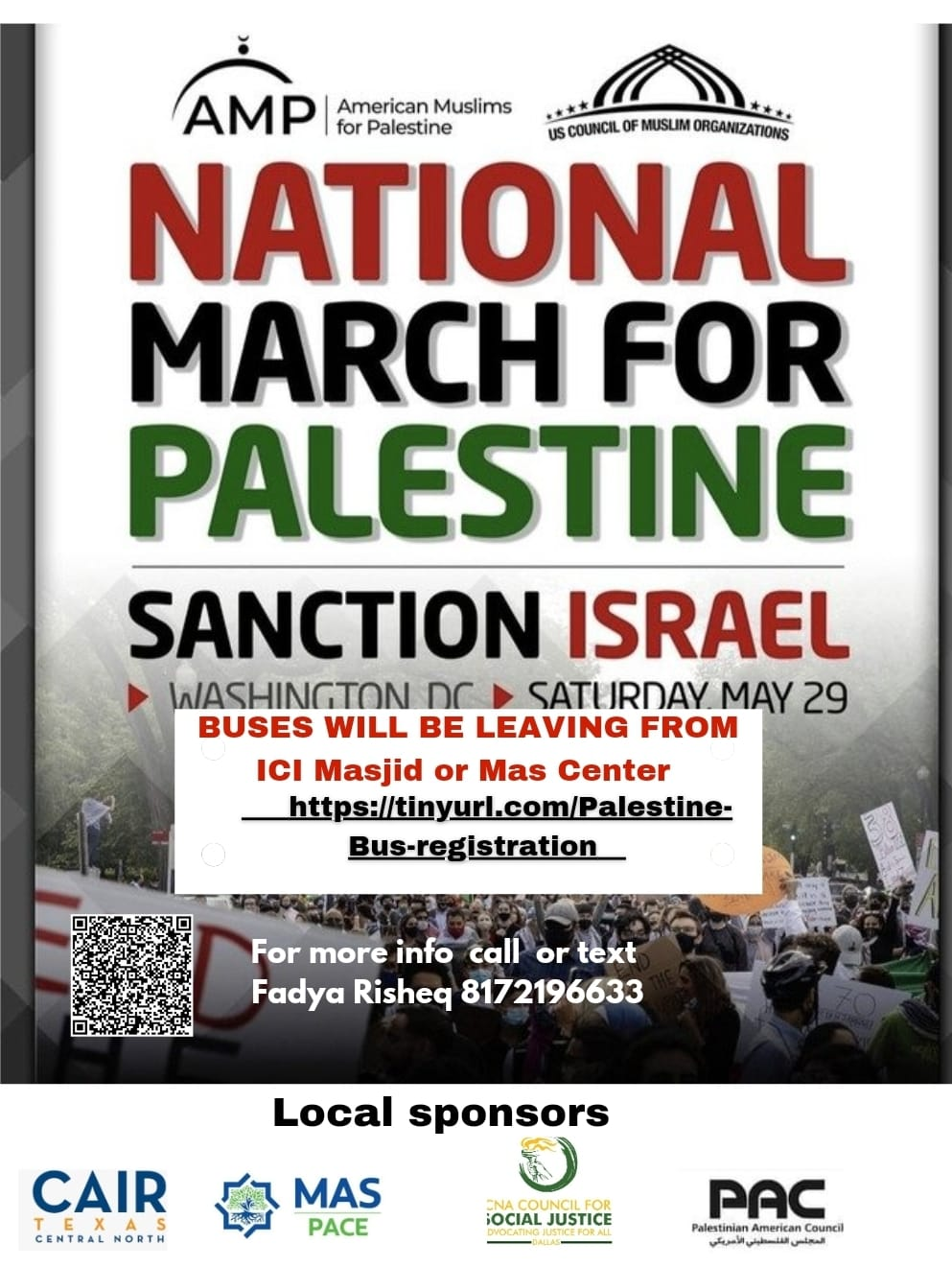Register for the Bus Delegation from DFW to D.C. for National March for Palestine